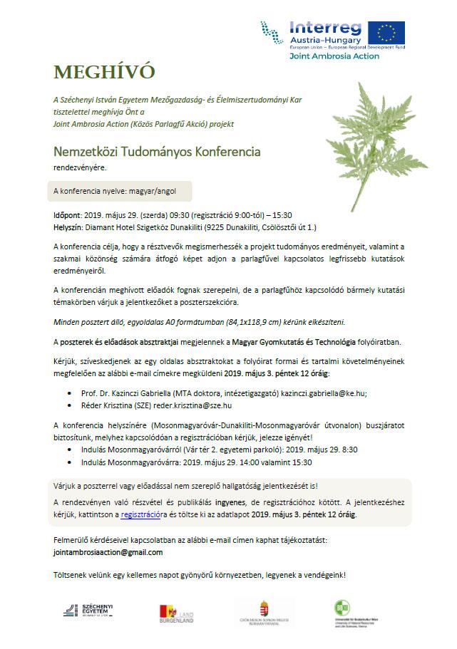 Joint Ambrosia Action (Közös Parlagfű Akció) projekt Nemzetközi Tudományos Konferencia